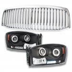Dodge Ram 2006-2008 Chrome Vertical Grille and Headlight Set