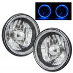 2002 Hummer H1 Blue Halo Black Chrome Sealed Beam Headlight Conversion