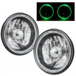 Jeep Cherokee 1974-1978 Green Halo Black Chrome Sealed Beam Headlight Conversion