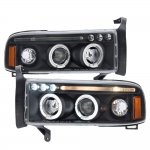 1997 Dodge Ram Black LED Eyebrow Projector Headlights with Halo
