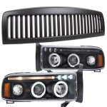2001 Dodge Ram 2500 Black Vertical Grille Halo Projector Headlights LED Eyebrow