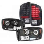 Dodge Ram 2007-2008 Black Projector Headlights and Black LED Tail Lights