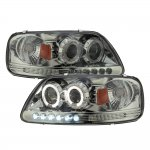 1999 Ford Expedition Smoked Halo Projector Headlights with LED