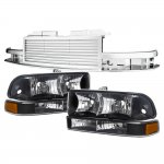 2002 Chevy S10 Pickup Chrome Billet Grille and Black Euro Headlights Set