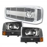 2002 Ford F250 Chrome Billet Grille and Black Headlight Sets