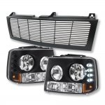 2001 Chevy Silverado Black Billet Grille and Headlights with LED