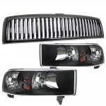 1998 Dodge Ram Black Vertical Grille and Euro Headlights Set