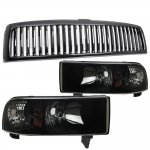 2001 Dodge Ram 2500 Black Vertical Grille and Black Smoked Euro Headlights Set