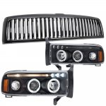 Dodge Ram 2500 1994-2001 Black Vertical Grille and Halo Projector Headlights