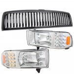 1997 Dodge Ram Black Vertical Grille and Headlights with LED Corner Lights