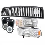 1997 Dodge Ram Black Vertical Grille and Headlights with LED Corner Lights Fog light