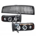 2002 Dodge Ram 3500 Black Vertical Grille Smoked LED Eyebrow Projector Headlights with Halo