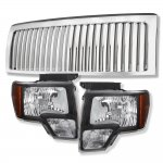 2009 Ford F150 Chrome Vertical Grille and Black Euro Headlights