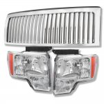 Ford F150 2009-2014 Chrome Vertical Grille and Euro Headlights