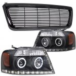 2004 Ford F150 Black Billet Grille and Projector Headlights Halo LED DRL