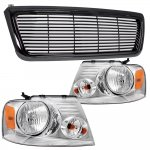 Ford F150 2004-2008 Black Billet Grille and Chrome Euro Headlights