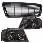 Ford F150 2004-2008 Black Billet Grille and Smoked Euro Headlights