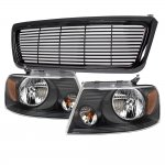 Ford F150 2004-2008 Black Billet Grille and Euro Headlights