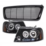 2004 Ford F150 Black Billet Grille and Smoked Projector Headlights