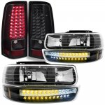 Chevy Silverado 2500HD 2001-2002 Black Headlights DRL and LED Tail Lights