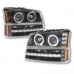 2003 Chevy Silverado 2500 Black Projector Headlights and LED Bumper Lights