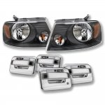 2004 Ford F150 Black Euro Headlights Chrome Door Handle Cover