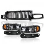 2001 GMC Sierra Denali Black Grille and Headlights LED DRL Bumper Lights