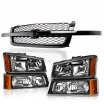 Chevy Silverado 2500HD 2003-2004 Black Grille and Headlights Bumper Lights