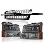 Chevy Silverado 1500 2003-2005 Black Grille and Smoked Headlights Bumper Lights
