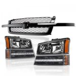 Chevy Silverado 2500HD 2003-2004 Black Grille and Headlights LED Bumper Lights