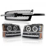 Chevy Silverado 2500HD 2003-2004 Black Grille and Halo Projector Headlights LED DRL Bumper Lights