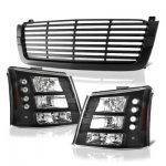 2004 Chevy Silverado 1500HD Black Front Grill and Headlights Conversion