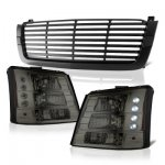 Chevy Silverado 1500 2003-2005 Black Front Grill and Smoked Headlights Conversion