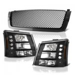 Chevy Silverado 3500 2003-2004 Black Mesh Grille and Headlights Conversion