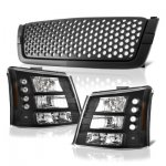 Chevy Silverado 3500 2003-2004 Black Custom Grille and Headlights Conversion