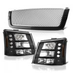 2004 Chevy Silverado 1500HD Black Grille Silver Mesh and Headlights Conversion