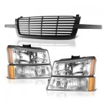 Chevy Silverado 1500 2003-2005 Black Front Grill and Clear Headlights