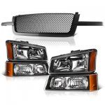 Chevy Silverado 3500 2003-2004 Black Mesh Grille and Headlights