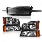 2003 Chevy Silverado 2500HD Black Front Grill and Headlights Set