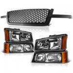 Chevy Silverado 2500HD 2003-2004 Black Custom Grille and Headlights