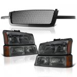 Chevy Silverado 1500 2003-2005 Black Mesh Grille and Smoked Headlights