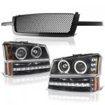 2004 Chevy Silverado 1500 Black Mesh Grille and Halo Projector Headlights LED DRL Bumper Lights