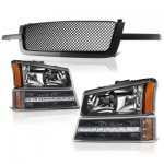 Chevy Silverado 1500 2003-2005 Black Mesh Grille and Headlights LED DRL Bumper Lights