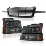 Chevy Silverado 1500 2003-2005 Black Front Grill and Smoked Headlights Set