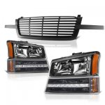 Chevy Silverado 1500 2003-2005 Black Front Grill and Headlights LED Bumper Lights