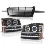 2005 Chevy Avalanche Black Grill and Halo Projector Headlights LED Bumper Lights