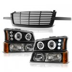2004 Chevy Silverado 1500HD Black Front Grille and Projector Headlights