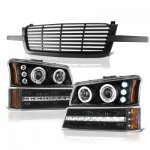 Chevy Silverado 1500 2003-2005 Black Front Grille and Projector Headlights LED Bumper Lights