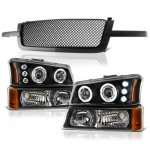 2004 Chevy Silverado 1500HD Black Mesh Grille and Projector Headlights