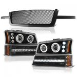 Chevy Silverado 1500 2003-2005 Black Mesh Grille and Projector Headlights LED DRL Bumper Lights